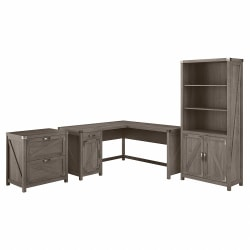 """Kathy Ireland Home by Bush® Furniture Cottage Grove 60""""W L Shaped Desk with Lateral File Cabinet and 5 Shelf Bookcase, Restored Gray, Standard Delivery"""