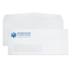 "Custom #10, 1-Color, Single Window Business Envelopes, 4-1/8"" x 9-1/2"", White Wove, Box Of 500"