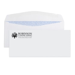 """Custom #10, 1-Color, Security Tint Business Envelopes, 4-1/8"""" x 9-1/2"""", White Wove, Box Of 500"""