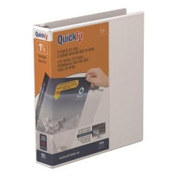 "Stride® QuickFit® Angle View 3-Ring Binder, 1 1/2"" D-Rings, 48% Recycled, White"