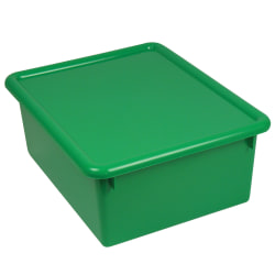 """Stowaway® 5"""" Letter Box With Lid, Small Size, 5"""" x 10 1/2"""" x 13"""", Green, Pack Of 3"""