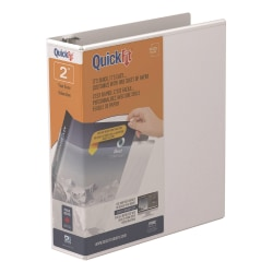 "Stride® QuickFit® Angle View 3-Ring Binder, 2"" D-Rings, 47% Recycled, White"