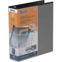 """Stride® QuickFit® Angle View 3-Ring Binder, 2"""" D-Rings, 47% Recycled, Black"""