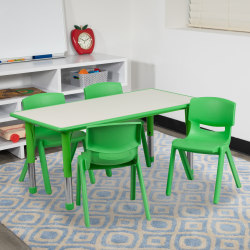 """Flash Furniture Rectangular Plastic Height-Adjustable Activity Table Set With 4 Chairs, 23-1/2""""H x 23-5/8""""W x 47-1/4""""D, Green"""