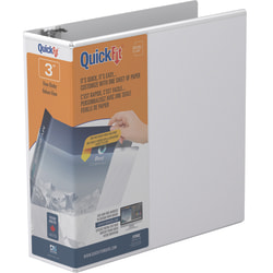 """Stride® QuickFit® Angle View 3-Ring Binder, 3"""" D-Rings, 47% Recycled, White"""