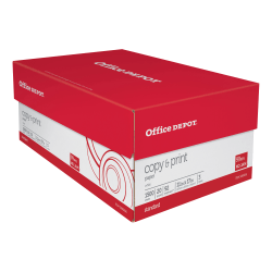 "Office Depot® Brand Copy And Print Paper, Ledger Size (11"" x 17""), 92 (US)/104 (Euro) Brightness, 20 Lb, Ream Of 500 Sheets, Case Of 3 Reams"