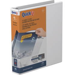 "Stride® QuickFit® View 3-Ring Binder, 1 1/2"" Round Rings, 48% Recycled, White"