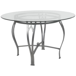"""Flash Furniture Round Glass Dining Table With Bowed Frame, 29-1/2""""H x 48""""W x 48""""D, Clear/Silver"""