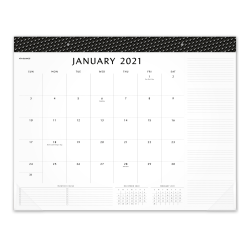 "AT-A-GLANCE® Elevation Monthly Desk Pad Calendar, 21-3/4"" x 17"", Black/White, January To December 2021, SK752400"
