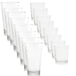 Gibson Home Great Foundations 16-Piece Tumbler And Double Old Fashioned Glass Set, 16 Oz/13 Oz, Square Pattern, Clear