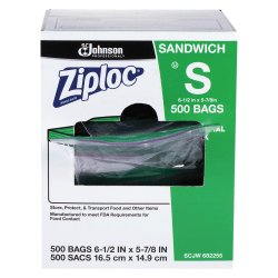 Ziploc® Resealable Sandwich Bags, Clear, Box Of 500 Bags