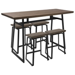 Lumisource Geo Industrial Black/Brown Counter Table With 4 Black/Brown Chairs