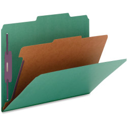 Nature Saver 1-Divider Color Classification Folders, Legal Size, Green, Box Of 10