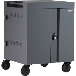 """Bretford CUBE Cart 36, AC Charging, Charcoal Paint - 2 Shelf - 4 Casters - Polypropylene, Steel - 30"""" Width x 26.5"""" Depth x 37.5"""" Height - Charcoal - For 36 Devices"""