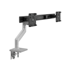 Humanscale M8.1 - Mounting kit (clamp, crossbar for dual monitors, fixed angled / dynamic link) for 2 LCD displays (adjustable arm) - silver with gray trim - mounting interface: 100 x 100 mm