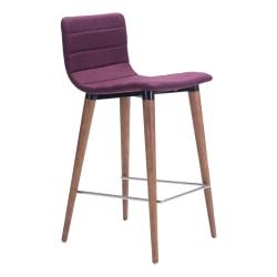 Zuo Modern® Jericho Counter Chairs, Purple/Walnut, Set Of 2 Chairs