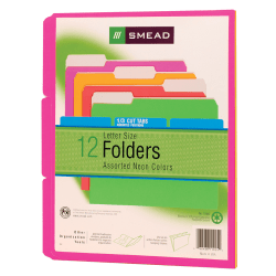 Smead® Action File Folders, 1/3 Cut Tab, Letter Size, Assorted Colors, Pack Of 12