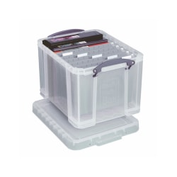 "Really Useful Box® Plastic Storage Box, 32 Liters, 19"" x 14"" x 12"", Clear"