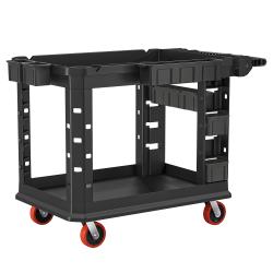"Suncast Commercial Heavy-Duty Plus 2-Shelf Utility Cart, 34-13/16""H x 26-1/2""W x 48-3/4""D, Gray"