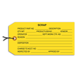 "Office Depot® Brand Prestrung Inspection Tags, ""Scrap,"" 4 3/4"" x 2 3/8"", Yellow, Box Of 1,000"