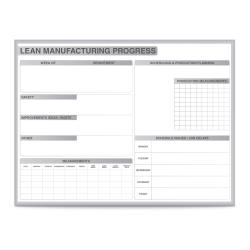 """Ghent Lean Manufacturing Magnetic Dry-Erase Whiteboard, 48"""" x 72"""", Silver Aluminum Frame"""
