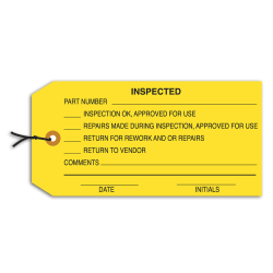 """Office Depot® Brand Prewired Inspection Tags, """"Inspected,"""" 4 3/4"""" x 2 3/8"""" Yellow, Box Of 1,000"""
