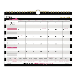"""AT-A-GLANCE® See Jane Work® Stripe Academic Monthly Wall Calendar, 15"""" x 12"""", Black/White, July 2020 To June 2021, SJ101-707A"""