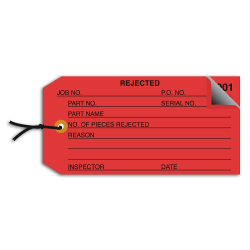 "Office Depot® Brand Prewired Inspection Tags, 2-Part Numbered, ""Rejected,"" 4 3/4"" 2 3/8"", Red, Box Of 500"