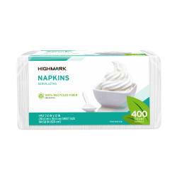 """Highmark® Paper Napkins, 11-1/2"""" x 12-1/2"""", 100% Recycled, White, Pack Of 400 Napkins"""