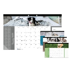 """Blueline® Man's Best Friend Collection Monthly Desk Pad Calendar, 17-3/4'' x 10-7/8"""", 50% Recycled, FSC® Certified, Dogs, January to December 2021"""