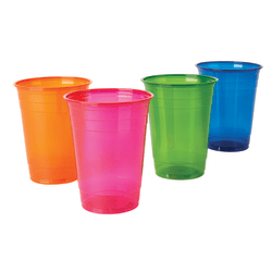 Highmark® Plastic Cups, 16 Oz, Assorted Clear Colors, Pack Of 100