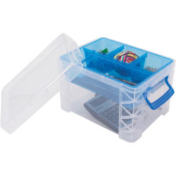 "Advantus Super Stacker Divided Supply Box - External Dimensions: 10.1"" Length x 7.5"" Width x 6.5"" Height - 5 Dividers - Lid Lock Closure - Stackable - Plastic - Clear, Blue - For Pen/Pencil, Paper Clip, Rubber Band - 1 Each"