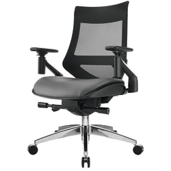 WorkPro® 1500 Bonded Leather Mid-Back Multifunction Chair, Black/Gray