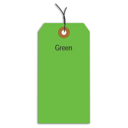 """Office Depot® Brand Fluorescent Prewired Shipping Tags, #5, 4 3/4"""" x 2 3/8"""", Green, Box Of 1,000"""
