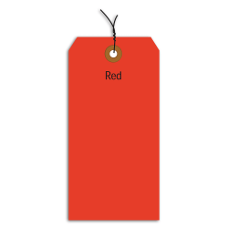"""Office Depot® Brand Fluorescent Prewired Shipping Tags, #5, 4 3/4"""" x 2 3/8"""", Red, Box Of 1,000"""