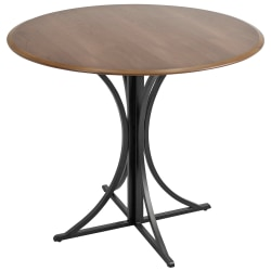Lumisource Boro Contemporary Dining Table, Round, Walnut/Black