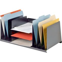 "MMF Letter Size Desk Organizer - 9 Compartment(s) - 8.8"" Height x 21.5"" Width x 11"" Depth - Desktop - Non-skid Base, Chip Resistant, Scratch Resistant - 20% - Black - Steel - 1 Each"