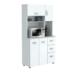 "Inval Storage Cabinet With Microwave Stand, 6 Shelves, 66""H x 35""W x 15""D, Laricina White"