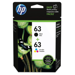 HP 63 Original Ink Cartridge, Black & Tri-Color Pack of 2 (L0R46AN)