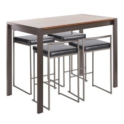 LumiSource Fuji Industrial Counter-Height Dining Table With 4 Stools, Antique Metal/Walnut/Black