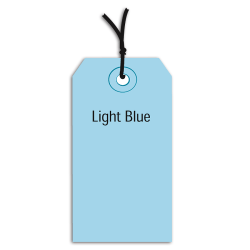 "Office Depot® Brand Prestrung Color Shipping Tags, #5, 4 3/4"" x 2 3/8"", Light Blue, Box Of 1,000"