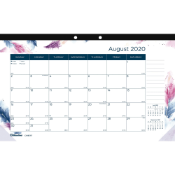 """Blueline BOHO Academic Monthly Desk Pad - Academic/Professional - Monthly - 1 Year - August 2020 till July 2021 - 1 Month Single Page Layout - 10 7/8"""" Sheet Size - 2 x Holes - Desk Pad - Multi - Chipboard - 10.9"""" Height x 17.8"""" Width"""