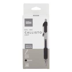 Office Depot® Brand Soft-Grip Retractable Gel Pens, Medium Point, 0.7 mm, Transparent Black Barrel, Black Ink, Pack Of 12 Pens