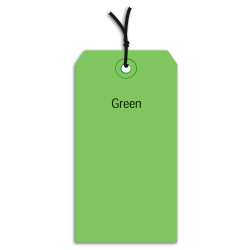 "Office Depot® Brand Prestrung Color Shipping Tags, #5, 4 3/4"" x 2 3/8"", Green, Box Of 1,000"