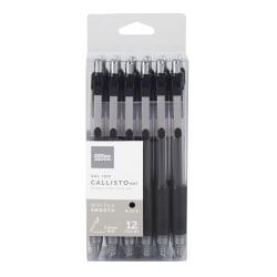 Office Depot® Brand Soft-Grip Retractable Gel Pens, Fine Point, 0.5 mm, Transparent Black Barrel, Black Ink, Pack Of 12 Pens