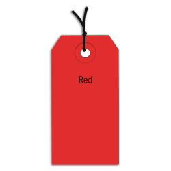 "Office Depot® Brand Prestrung Color Shipping Tags, #5, 4 3/4"" x 2 3/8"", Red, Box Of 1,000"