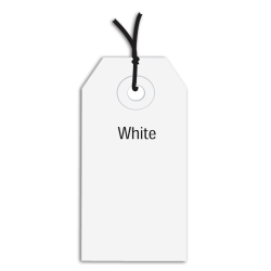 """Office Depot® Brand Prestrung Color Shipping Tags, #5, 4 3/4"""" x 2 3/8"""", White, Box Of 1,000"""