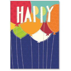 """Viabella Birthday Greeting Card With Envelope, Happy Balloons, 5"""" x 7"""""""