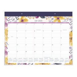 "Cambridge® Whimsical Academic Monthly Desk Pad Calendar, 21-3/4"" x 17"", Black/Purple/White, July 2020 To June 2021, D1403-704A"