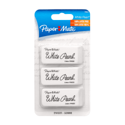 Paper Mate® White Pearl® Latex-Free Erasers, Pack Of 3